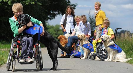 Junge im Rollstuhl mit Hund