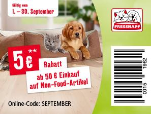 5€ Rabatt ab 50€ auf Nonfood Artikel Zubehör