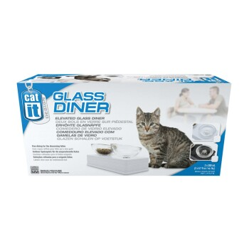 Style Glass Diner Ciotole per gatti Nero