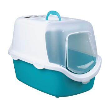Katzentoilette Vico Easy Clean mit Haube Türkis/ Weiß