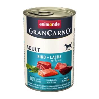Assortiment GranCarno Original Adulte 6x400g Bœuf et saumon aux épinards