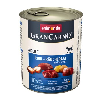 GranCarno Original Adult 6 x 800g Wołowina i wędzony węgorz z ziemniakami