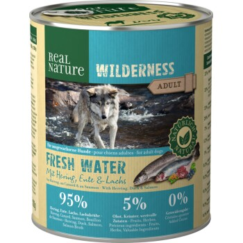 WILDERNESS Adult 6x800g Fresh Water Hering, Lachs & Ente