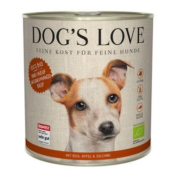 Dogs`s Love BIO 6x800g Manzo con riso, mela e zucchine