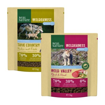 Wilderness Junior Pack dégustation 2 x 1 kg Poulet au poisson / cheval et bœuf