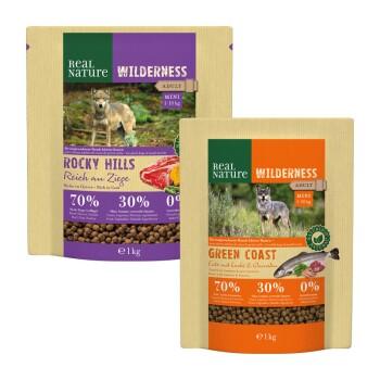 WILDERNESS Mini Zestaw próbny 2 x 1 kg Kaczka z łososiem i krewetkami / wołowina i kozina