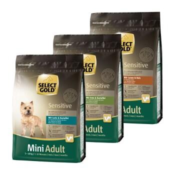 Sensitive Adult Mini Confezione di prova 3x1kg Confezione 1: Salmone, agnello, anatra