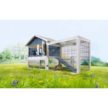 Kleintierstall mit Freigehege Woody Cottage Blau