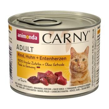 CARNY Adult 6x200g Rind, Huhn & Entenherzen