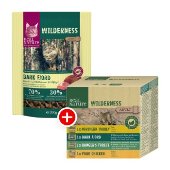 WILDERNESS Adult Set di alimentazione mista 2pz. Dark Fjord 300 g + 4x100 g Adult Confezione multipla