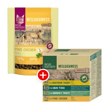 WILDERNESS Adult Mischfütterung-Set 2tlg. Pure Chicken 300g + 4x100g Adult Multipack