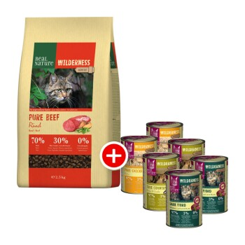 WILDERNESS Adult Mischfütterung-Set 2tlg. Pure Beef 2,5kg + 6x400g Adult Mixpaket II