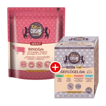 Adult Rindliebe Mischfütterungs-Set KITTY´S Adult Rindliebe 300g + KITTY´S Adult Multipack 4x85g