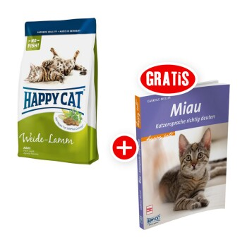 Happy Cat Supreme Adult Weide-Lamm 4kg + gratis Katzenbuch