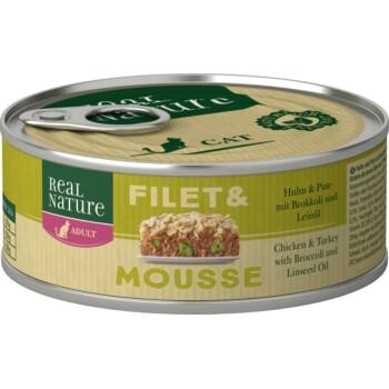Filet & Mousse Adult 6x85g Huhn & Pute mit Brokkoli und Leinöl