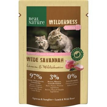 WILDERNESS Kitten 12x85g Wide Savannah mit Lamm & Wildschwein