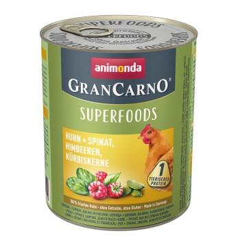 GranCarno Superfoods 6x800g Huhn + Spinat, Himbeeren, Kürbiskerne