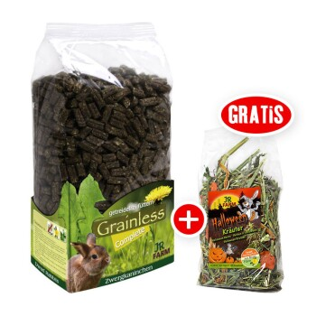 Grainless Complete Zwergkaninchen 15kg + gratis JR Halloween Snack 100g