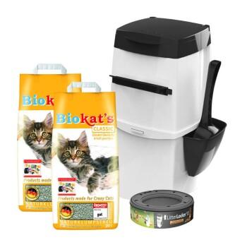 LitterLocker II weiß/schwarz + Biokat's classic 2x20 Liter