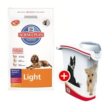 Hill's Canine Mature Adult 7+ Senior Light 12kg + Futtertonne