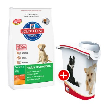 Hill's Canine Puppy Large Breed mit Huhn 11kg + Futtertonne
