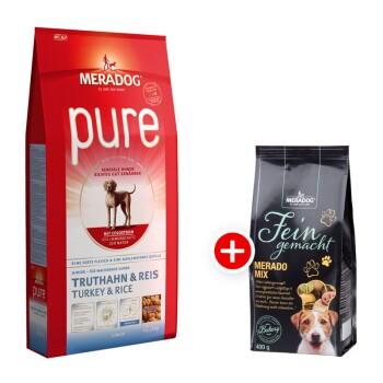 Dog Pure Junior Truthahn & Reis 12,5kg + Meradog Fein Gemacht Merado Mix 400g gratis